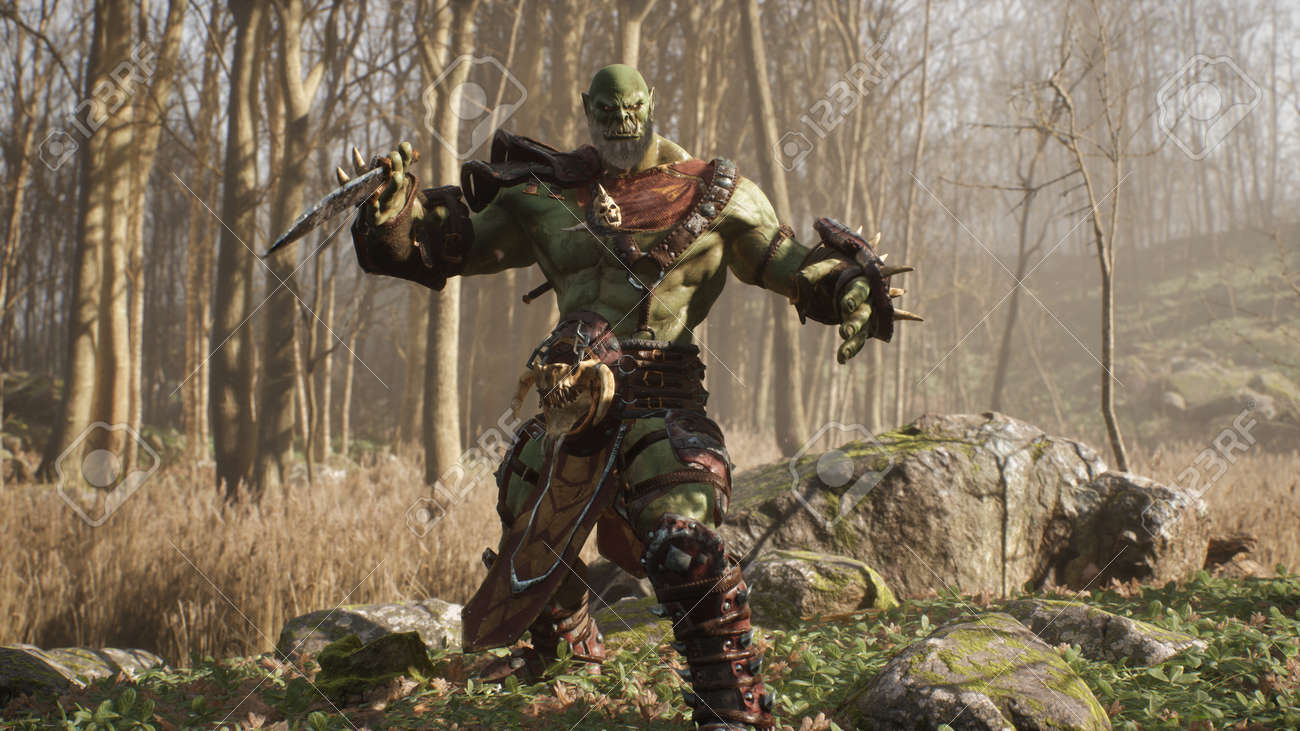 A formidable orc warrior trains before battle and demonstrates combat skills. Fantasy medieval concept. 3D Rendering. - 170564183