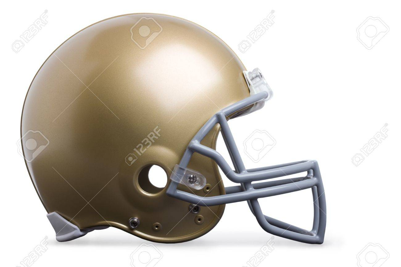 Gold football helmet isolated on white in side view Stock Photo - 15076375