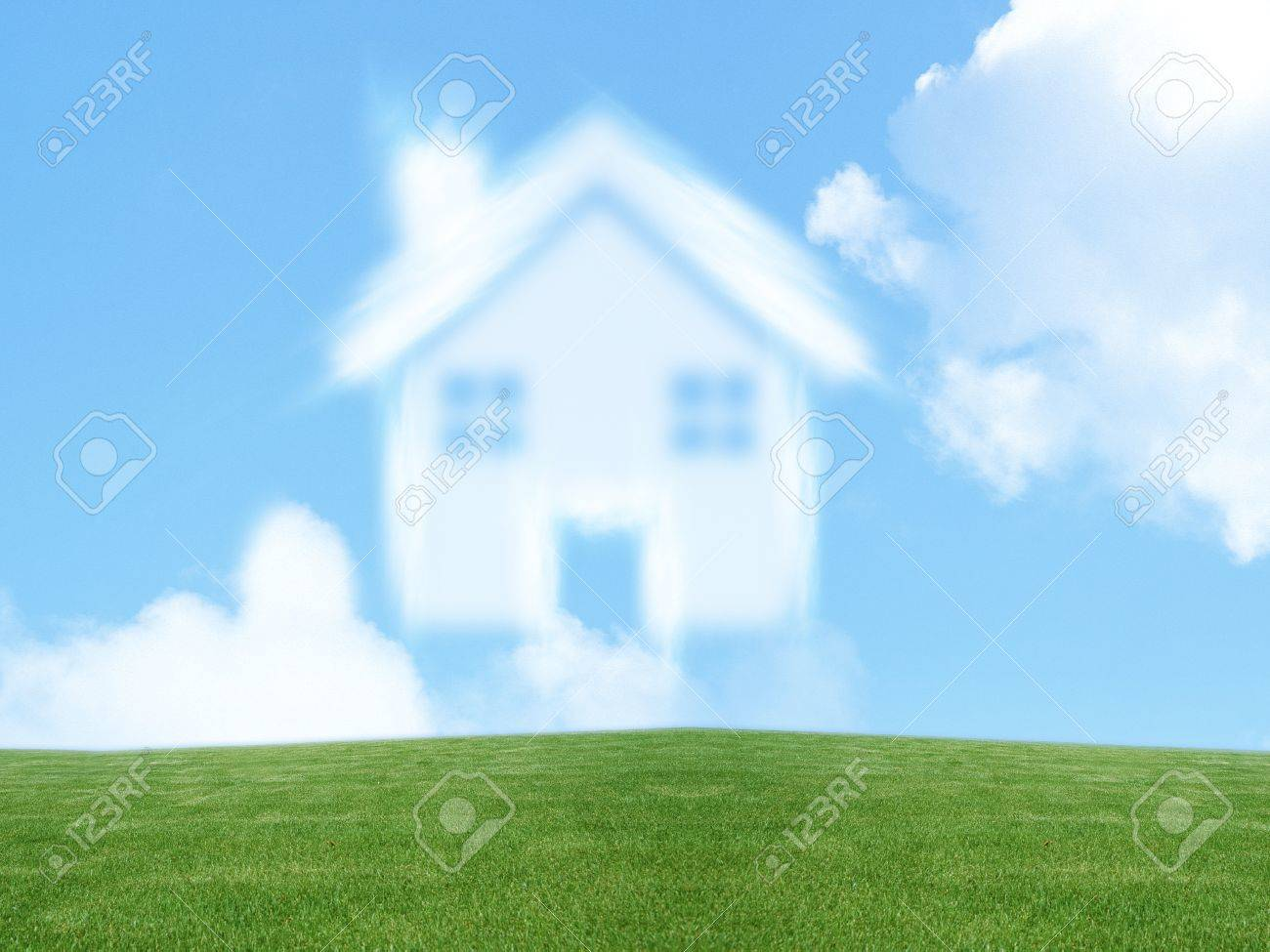 small house from clouds, Dream of homeownership Stock Photo - 11674050