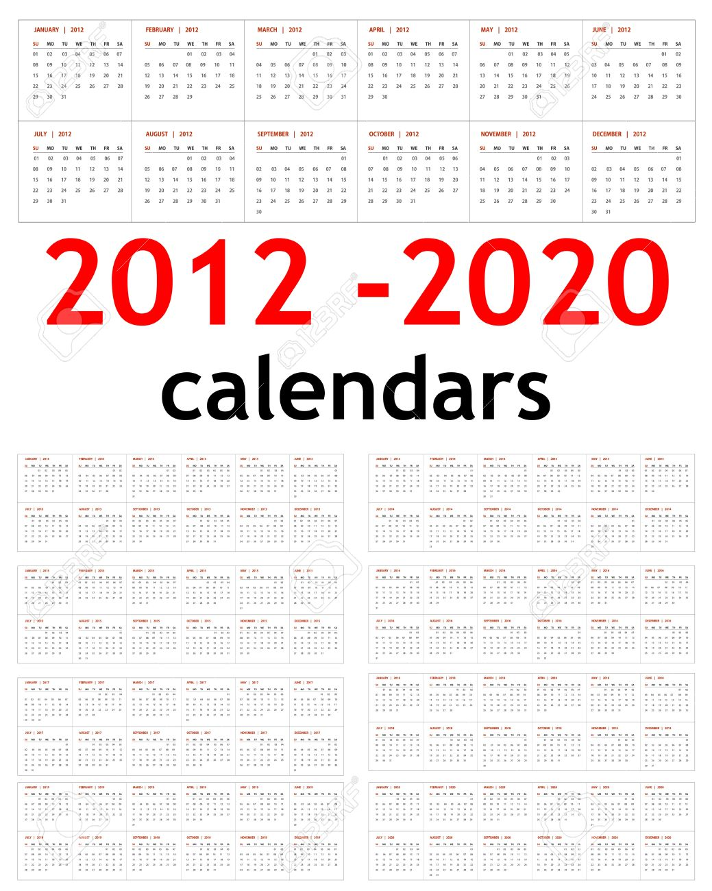 2013 And 2014 And 2020 Calendar New Year 2012, 2013, 2014, 2015, 2016, 2017, 2018, 2019,.. Royalty