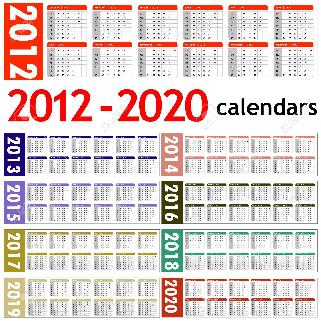 Calendar 2014 And 2020 New Year 2012, 2013, 2014, 2015, 2016, 2017, 2018, 2019,.. Royalty
