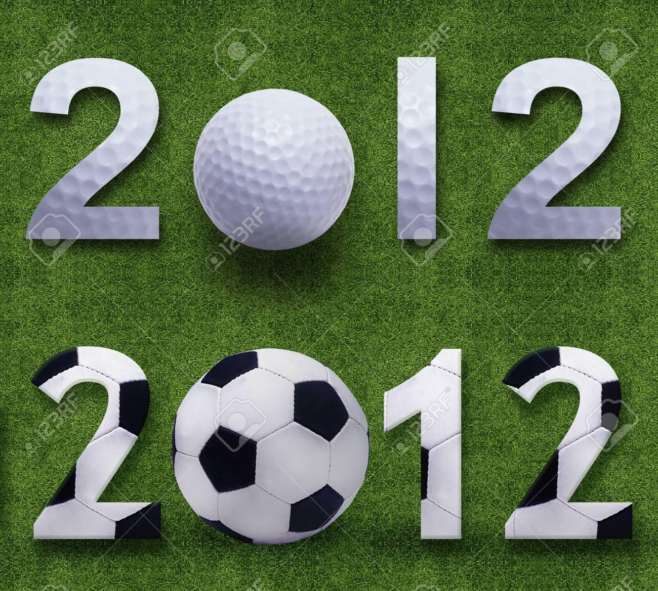 Happy new year 2012, Soccerand Golf sport conceptual image Stock Photo - 11798617