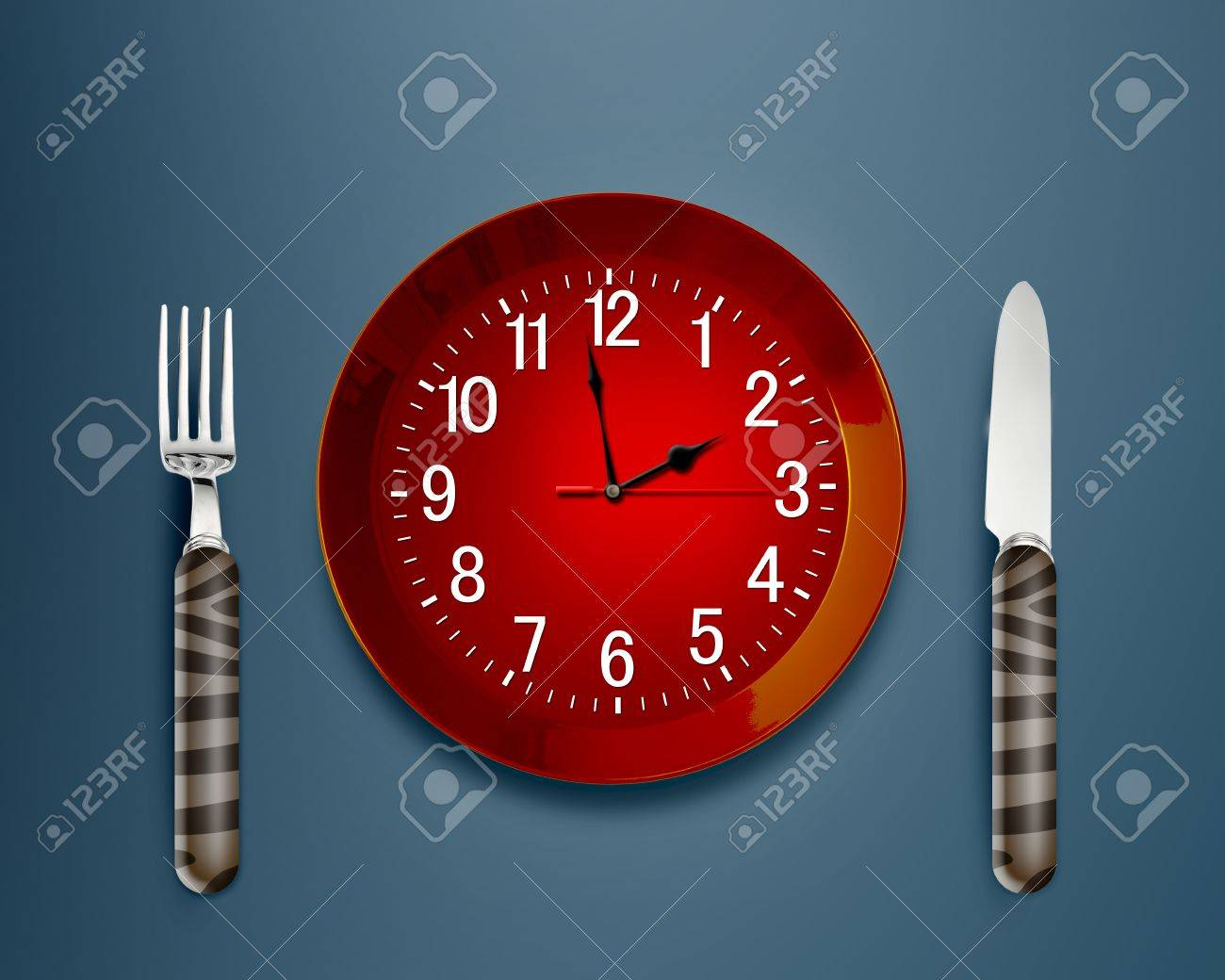 Lunch time concept, Clock in plate, knife and fork Stock Photo - 12463404