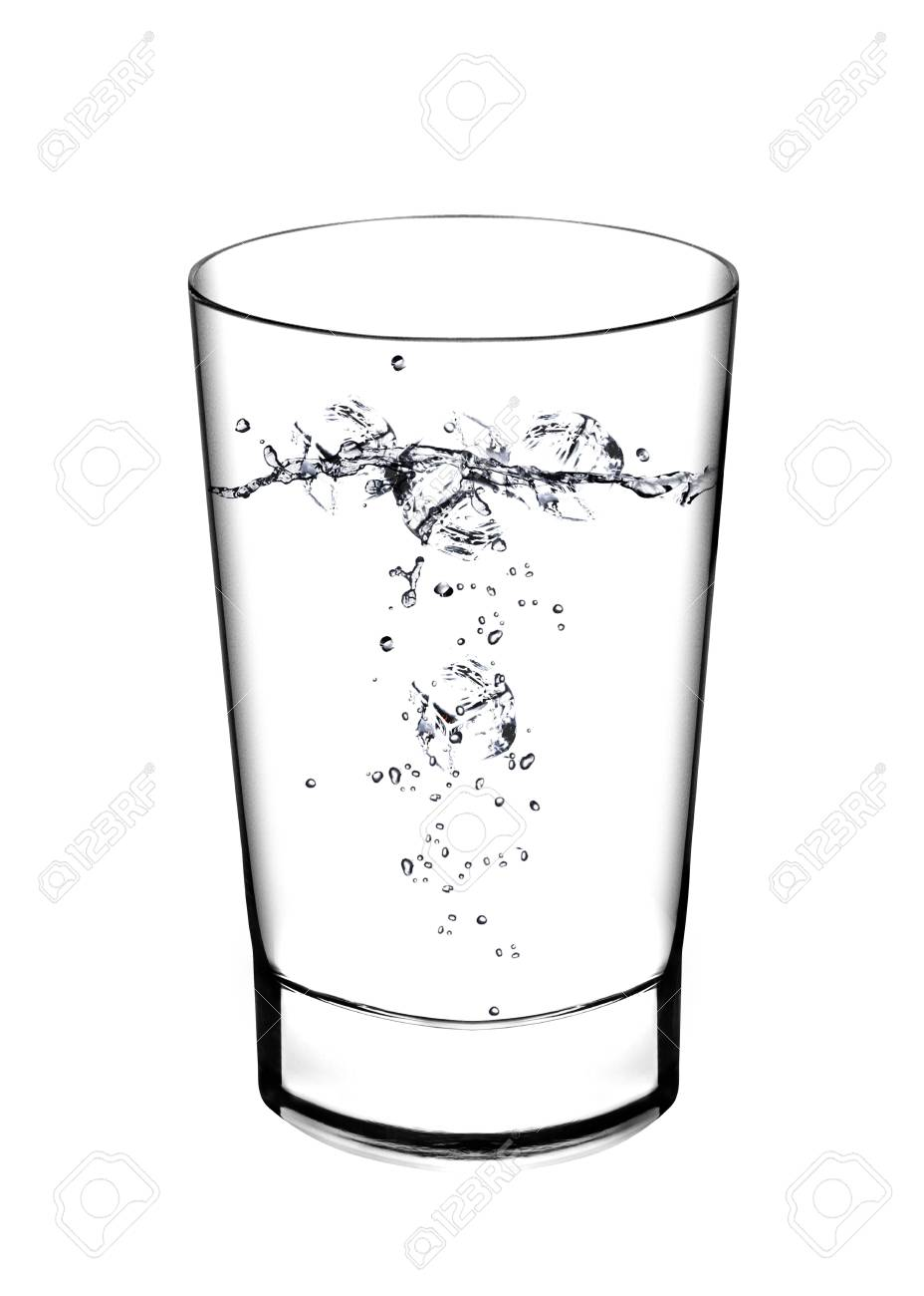 e871151d643 A glass of water and water splahes on white background Stock Photo -  13251516