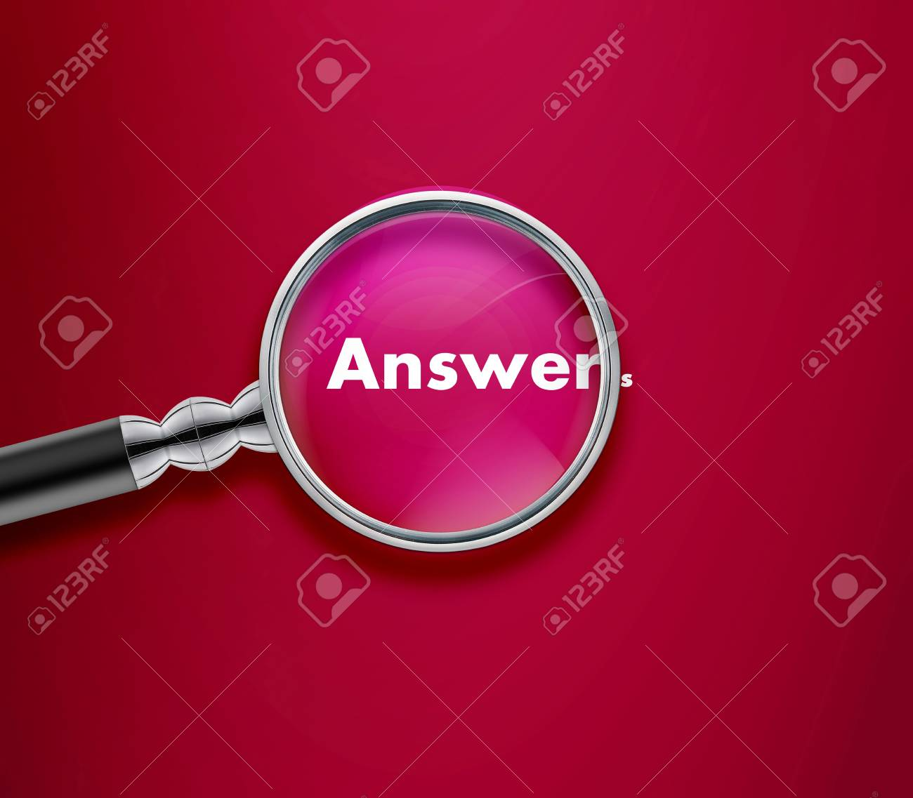 Magnifying glass with Answer word on Red background. Stock Photo - 13251751