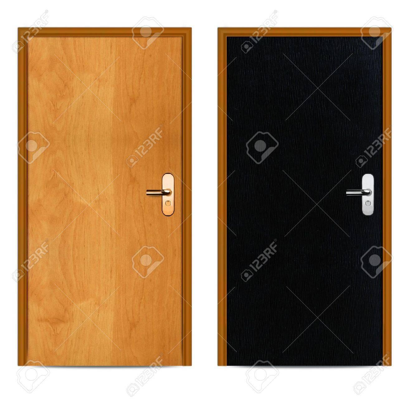 Innen Schwarz Und Braun Wohnung Holztür Isoliert Auf Weiß. Standard Bild    13274992