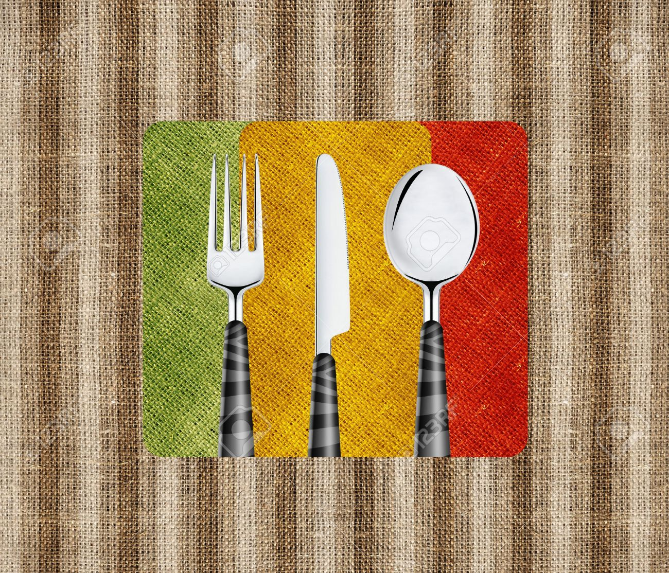 Restaurant menu cover design with knife, spoon and fork. Stock Photo - 13605330
