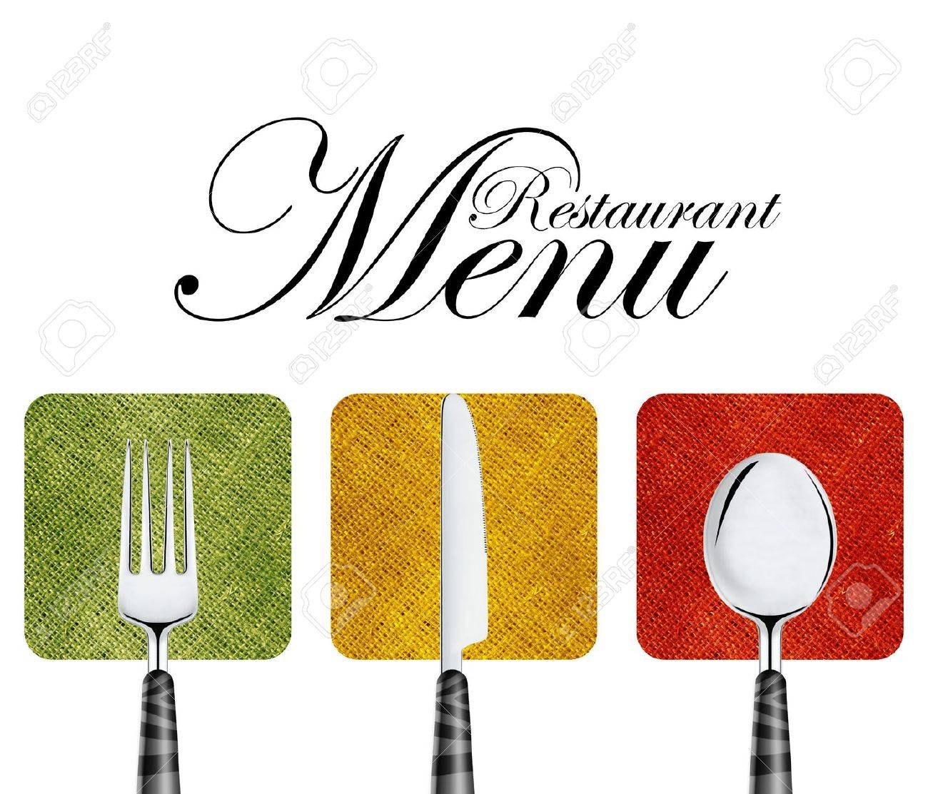 Restaurant menu cover design with knife, spoon and fork. Stock Photo - 13659648