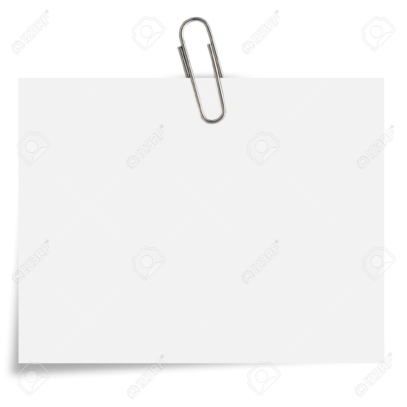blank white Notepaper with paperclip on white background. Stock Photo - 14006407
