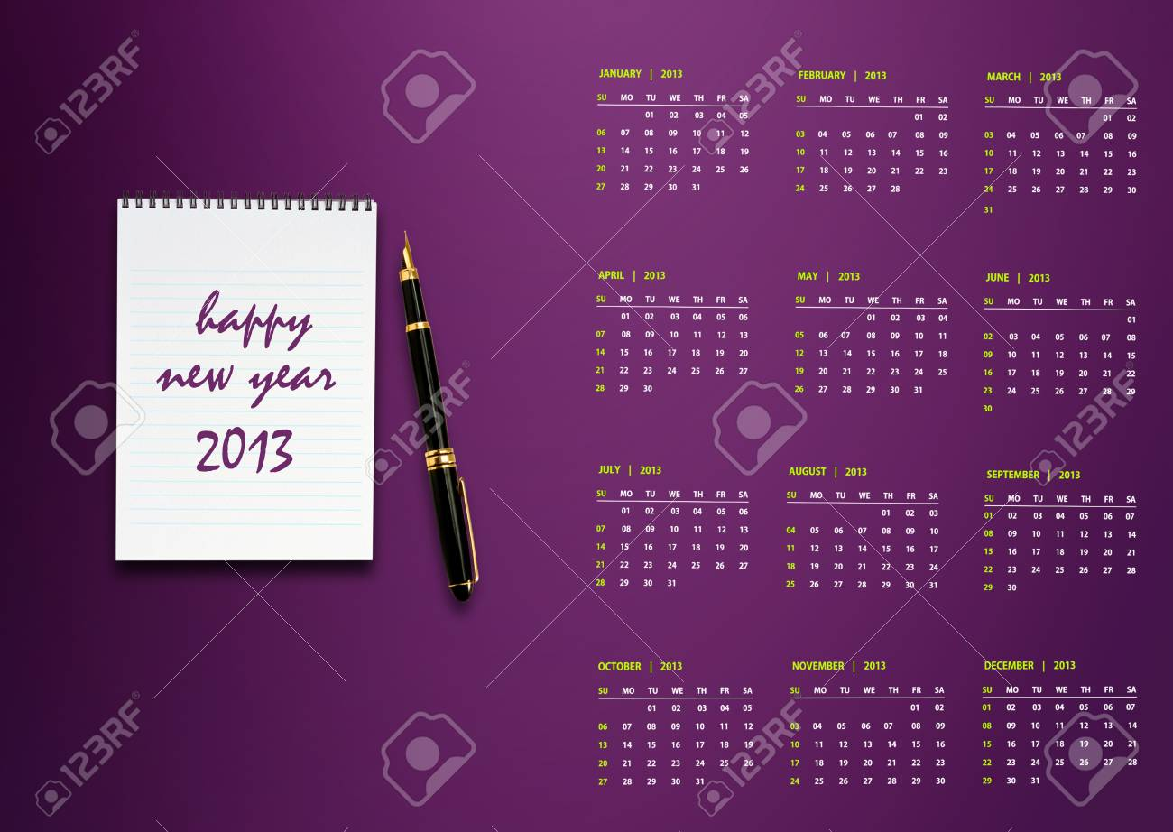 New year 2013 Calendar with conceptual image of new year greeting. Stock Photo - 15787115