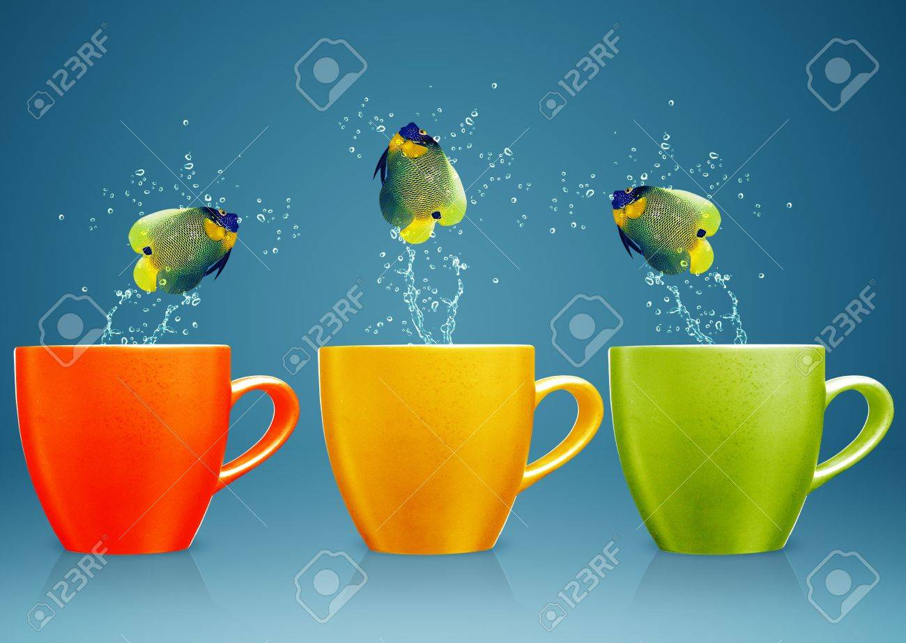 Angelfish jumping out of cup with water splashes and Acrobatic movement. Stock Photo - 15787394