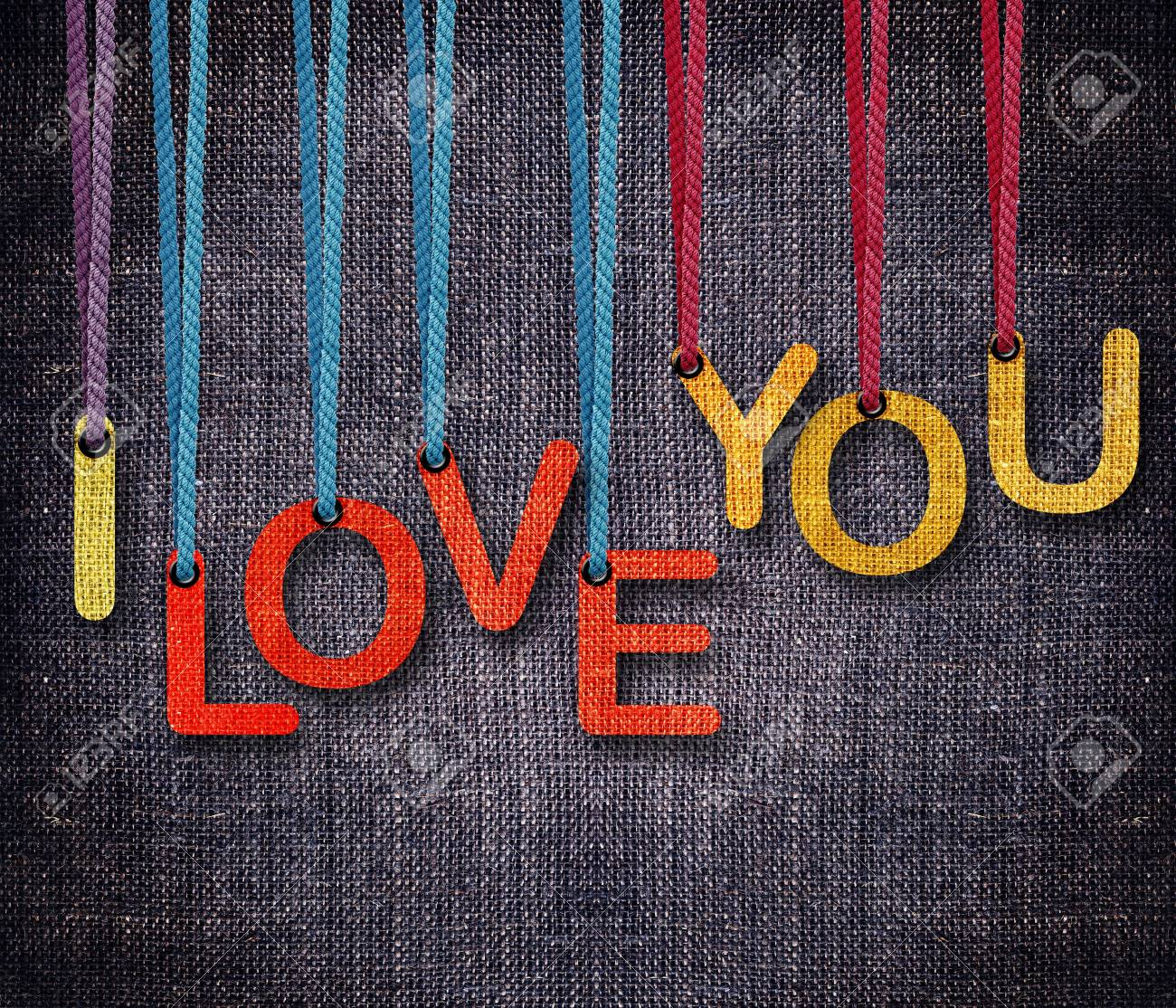 I love you hunging by rope as puppeteer on sackcloth background