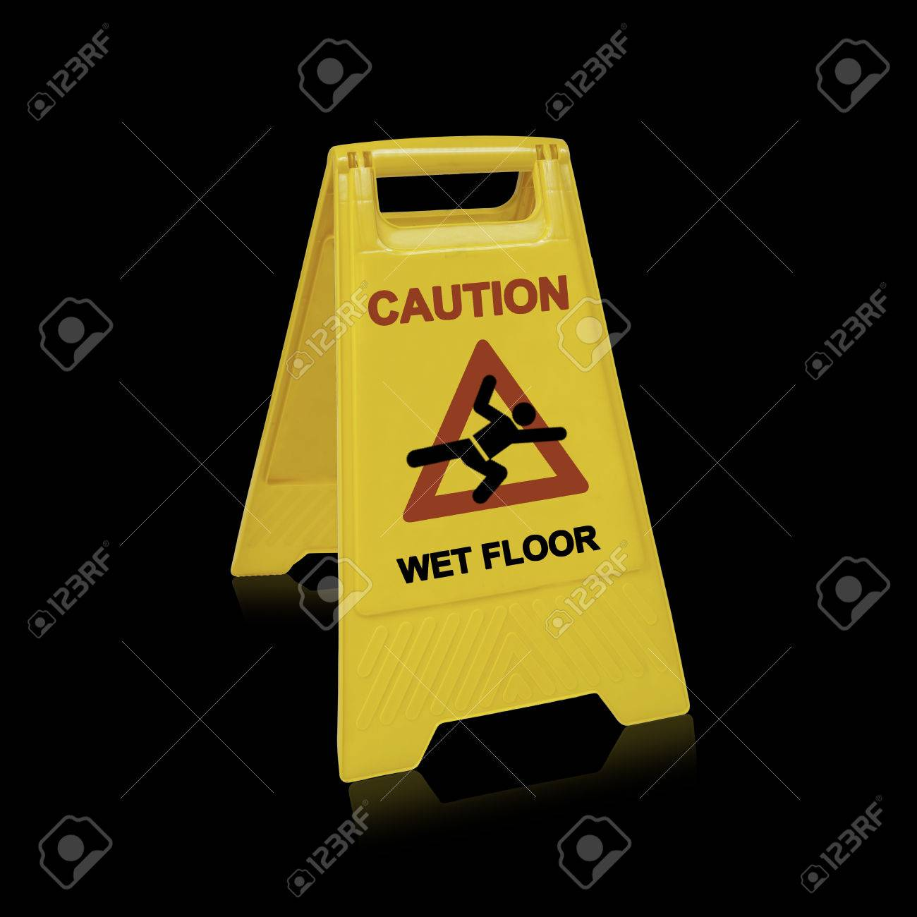 Yellow sign that alerts for wet floor.  (with clipping work path) Stock Photo - 22341889