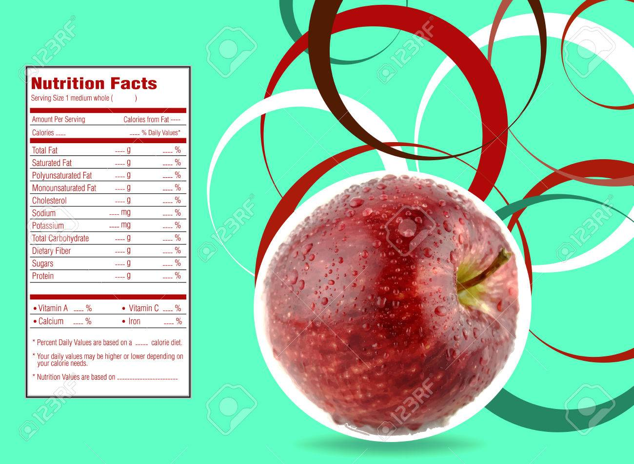 Creative Design For Red Apple With Nutrition Facts Label. Stock ...