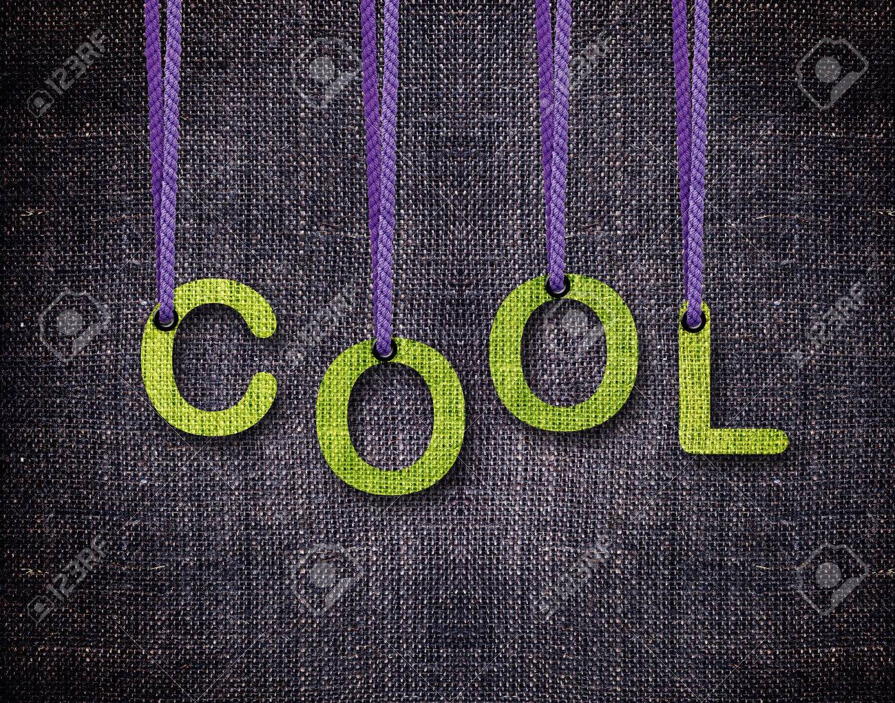Cool Letters hanging strings with blue sackcloth background. Stock Photo - 23518572