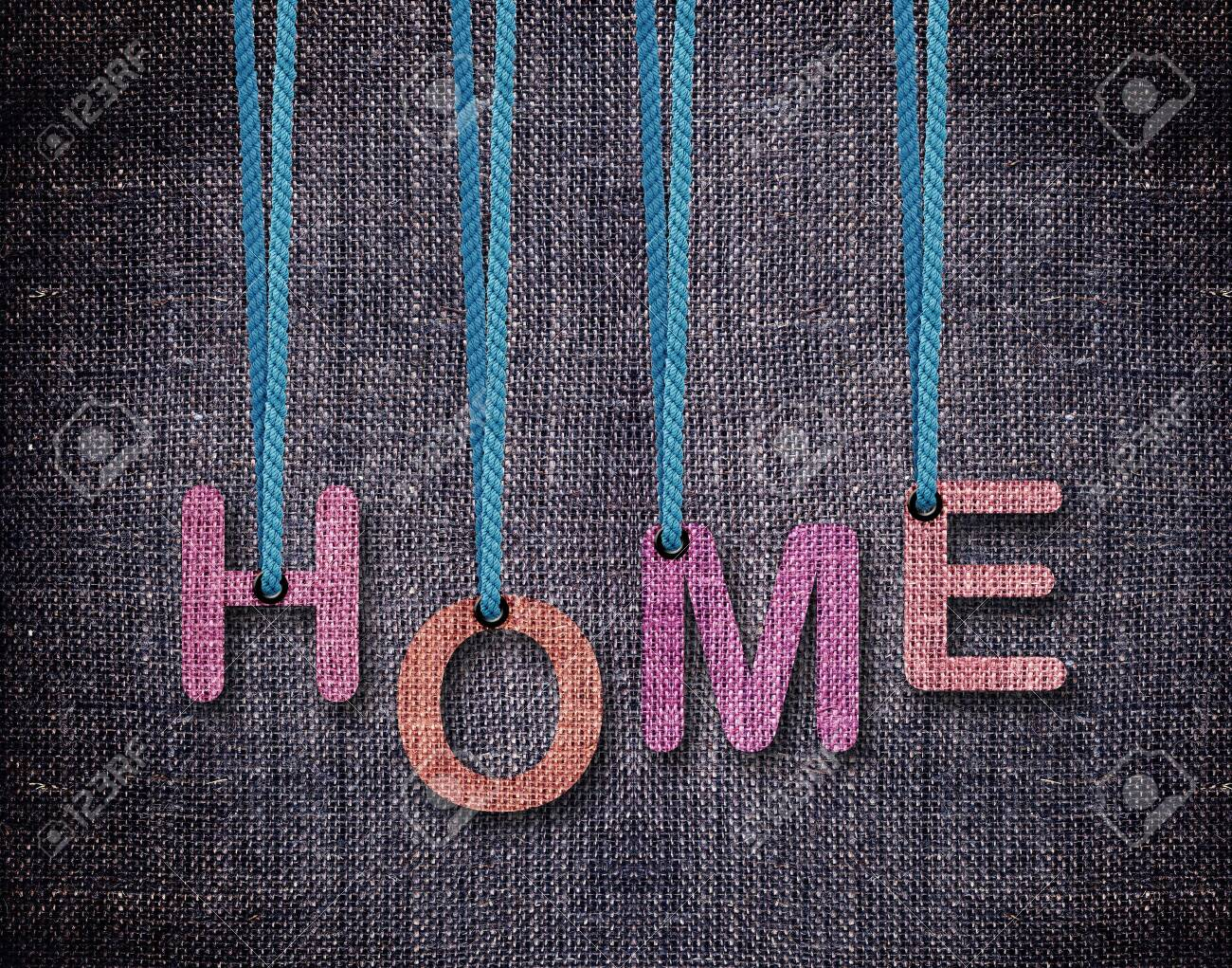 home letters hanging strings with blue sackcloth background stock photo 26669635