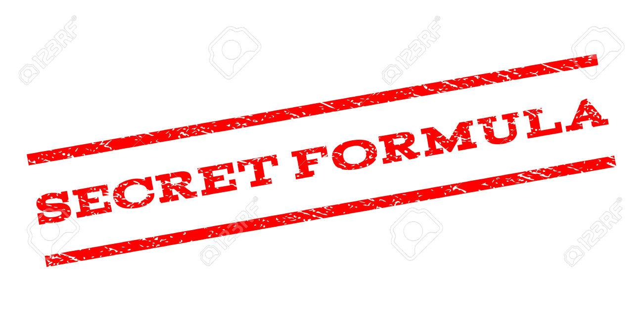 Secret Formula watermark stamp. Text tag between parallel lines with grunge design style. Rubber seal stamp with scratched texture. Vector red color ink imprint on a white background. - 70043690