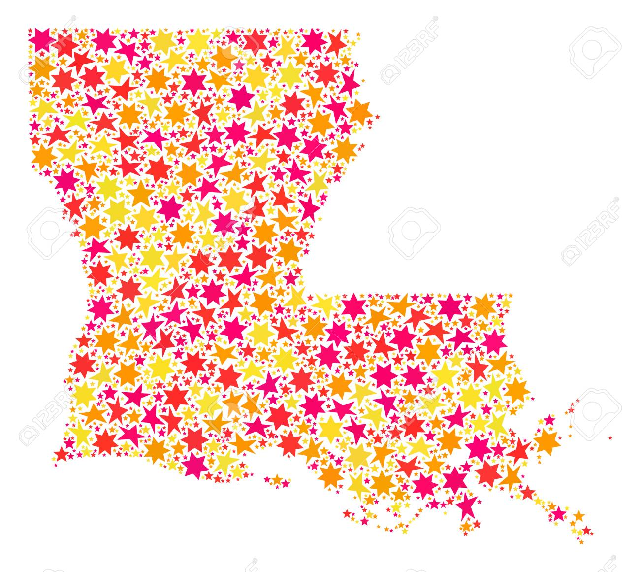 Geographic Map Of Louisiana.Collage Map Of Louisiana State Formed With Colored Flat Stars