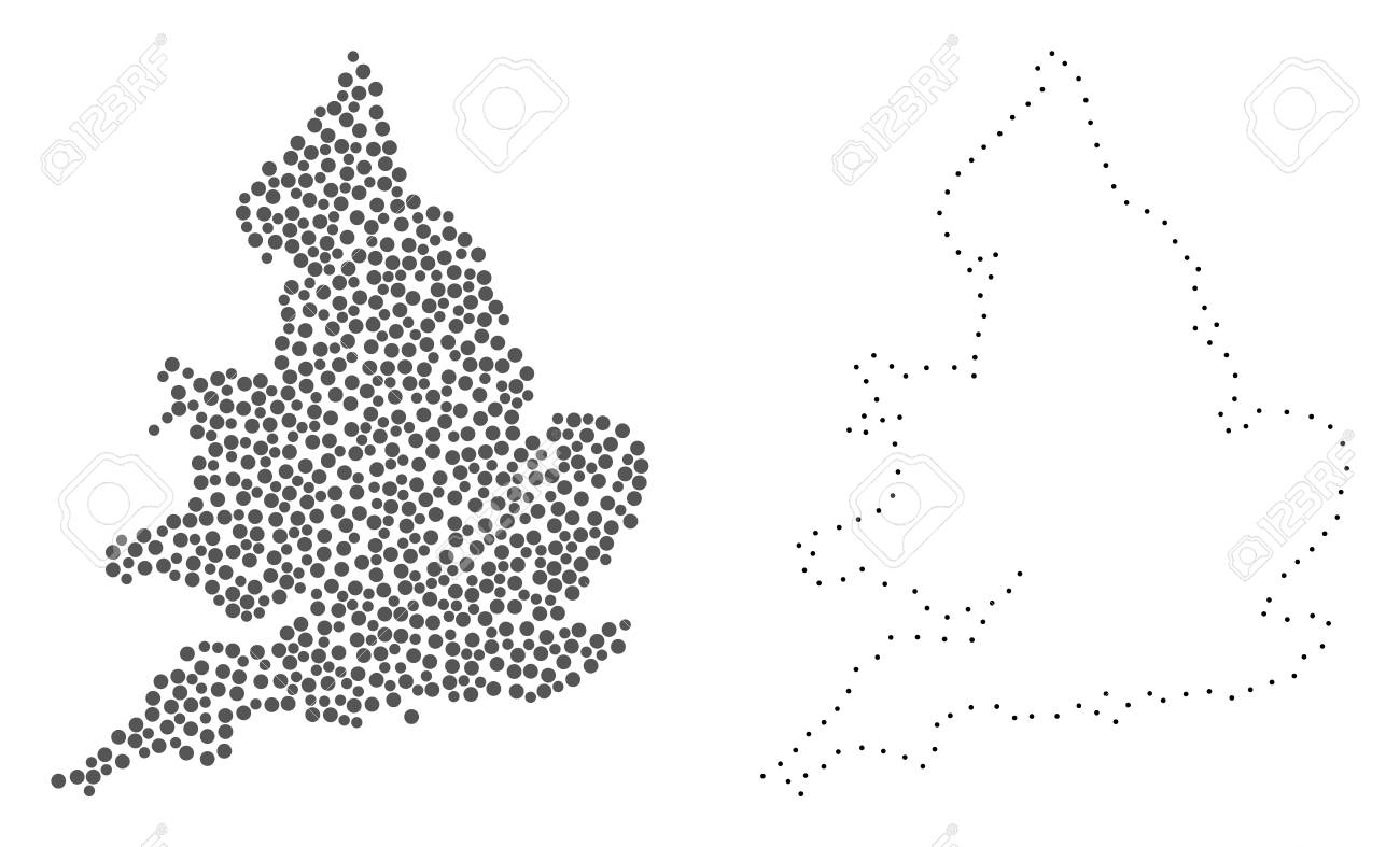 Map Of England Drawing.Dot And Contour Map Of England Formed With Dots Vector Grey