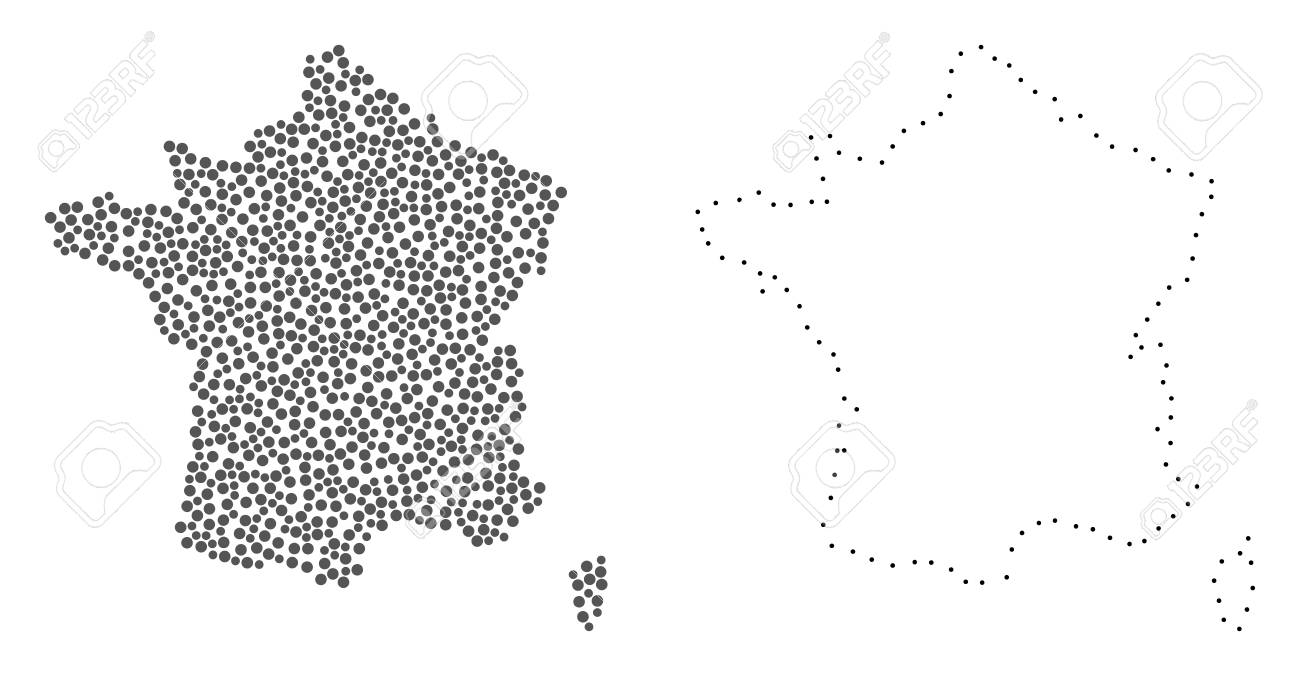 Dotted And Contour Map Of France Designed With Dots. Vector Gray ...