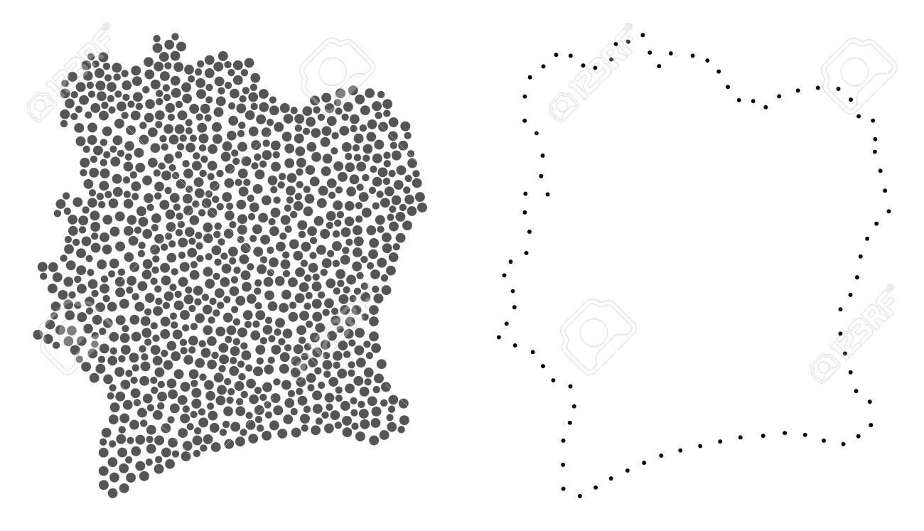 Dotted And Frame Map Of Ivory Coast Created With Dots. Vector Gray ...