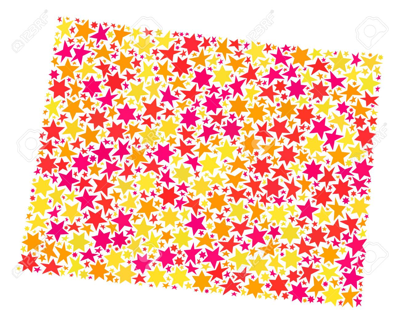 Map Of Wyoming State Created With Colored Flat Stars. Vector ...