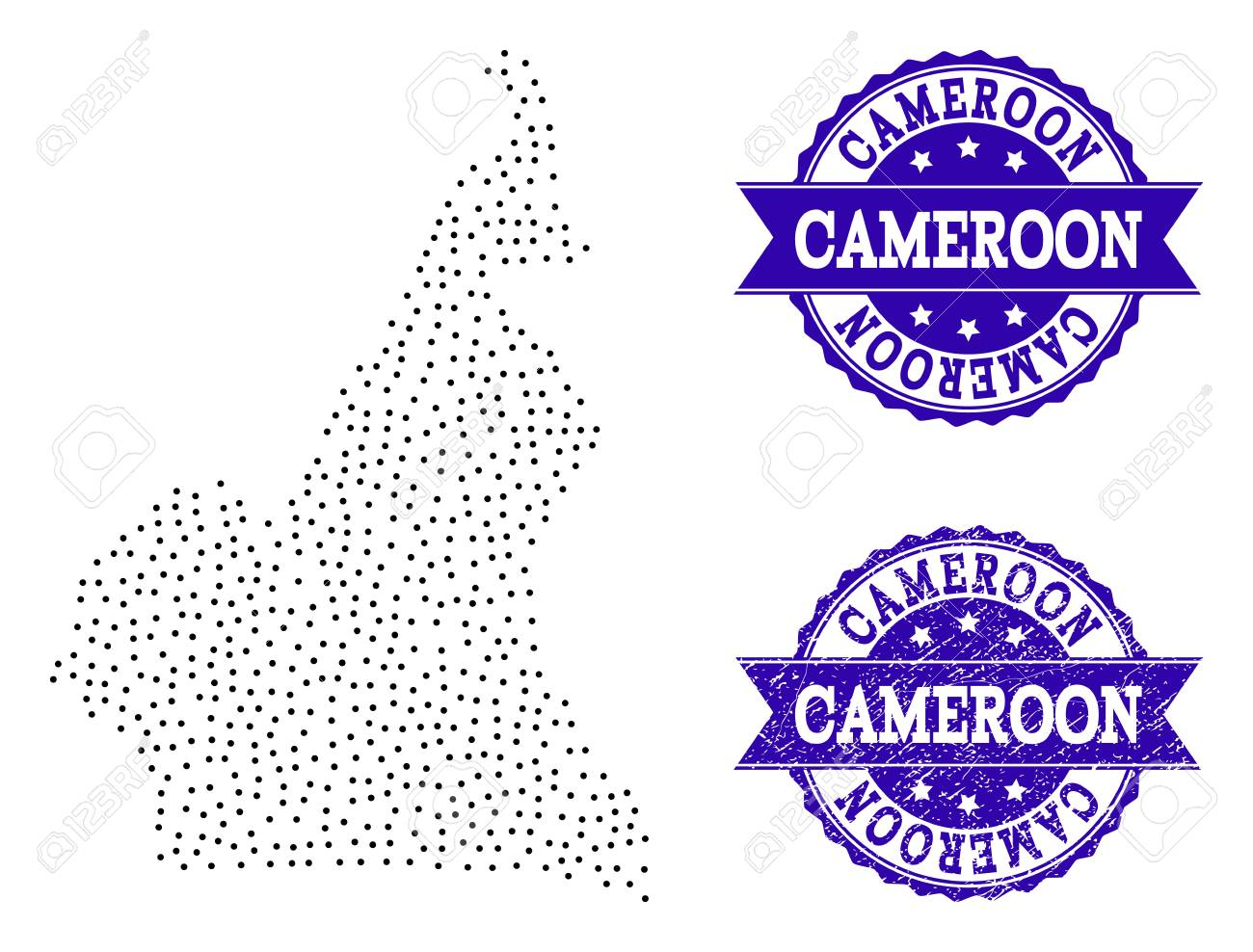 Dotted Black Map Of Cameroon And Blue Unclean Stamp. Vector Map Of ...