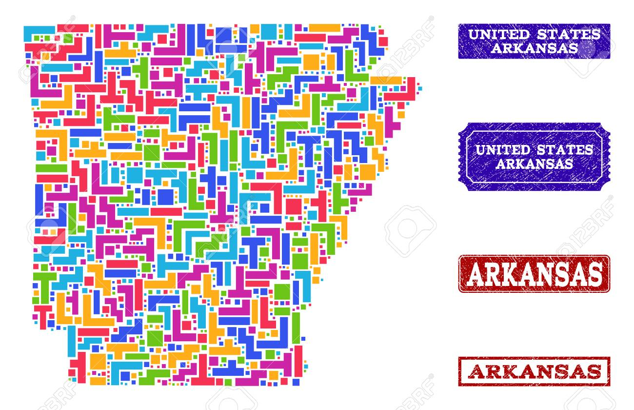 Mosaic Tetris Style Map Of Arkansas State And Corroded Rectangle ...
