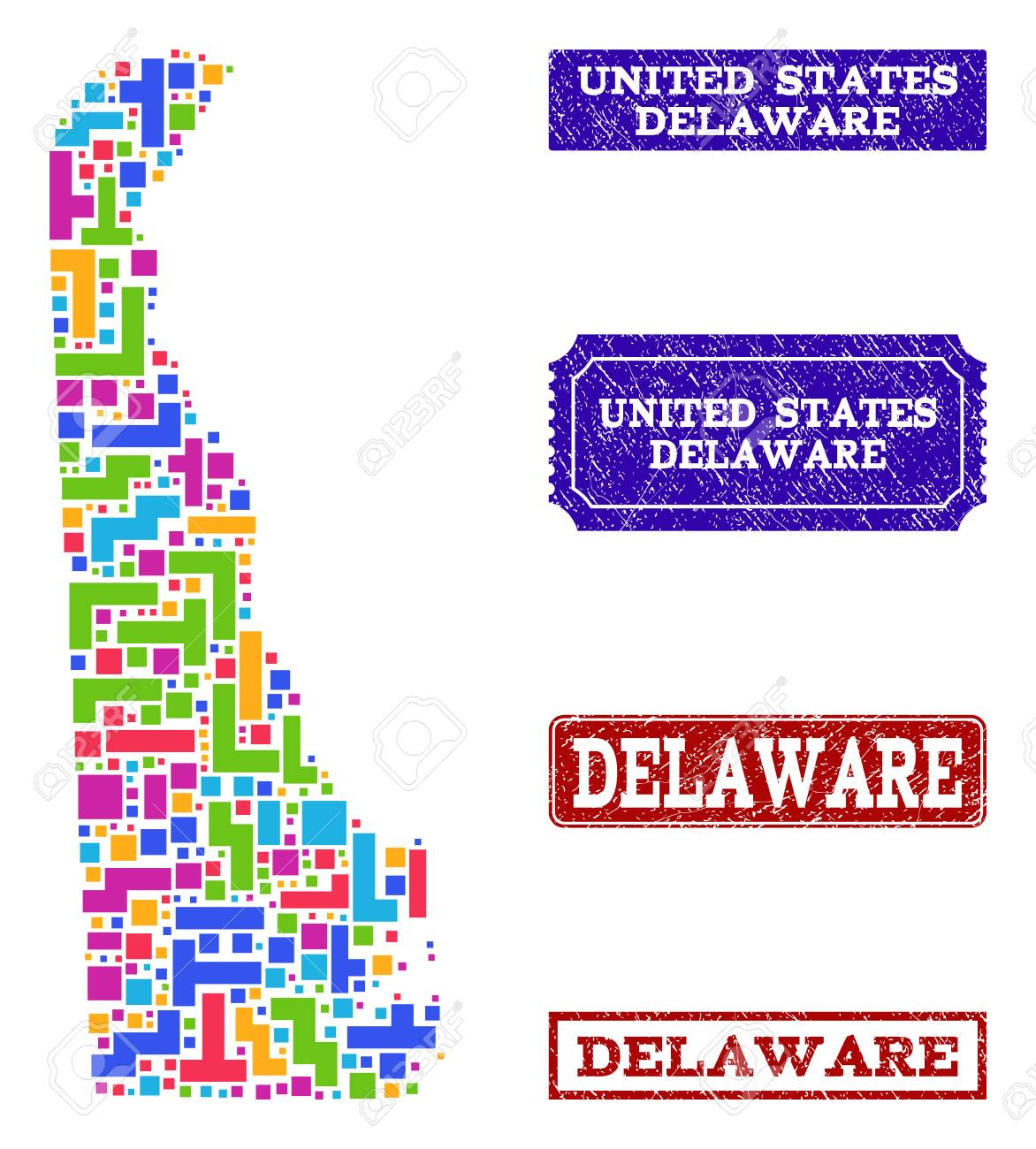 Mosaic Tetris Style Map Of Delaware State And Rubber Rectangle ... on