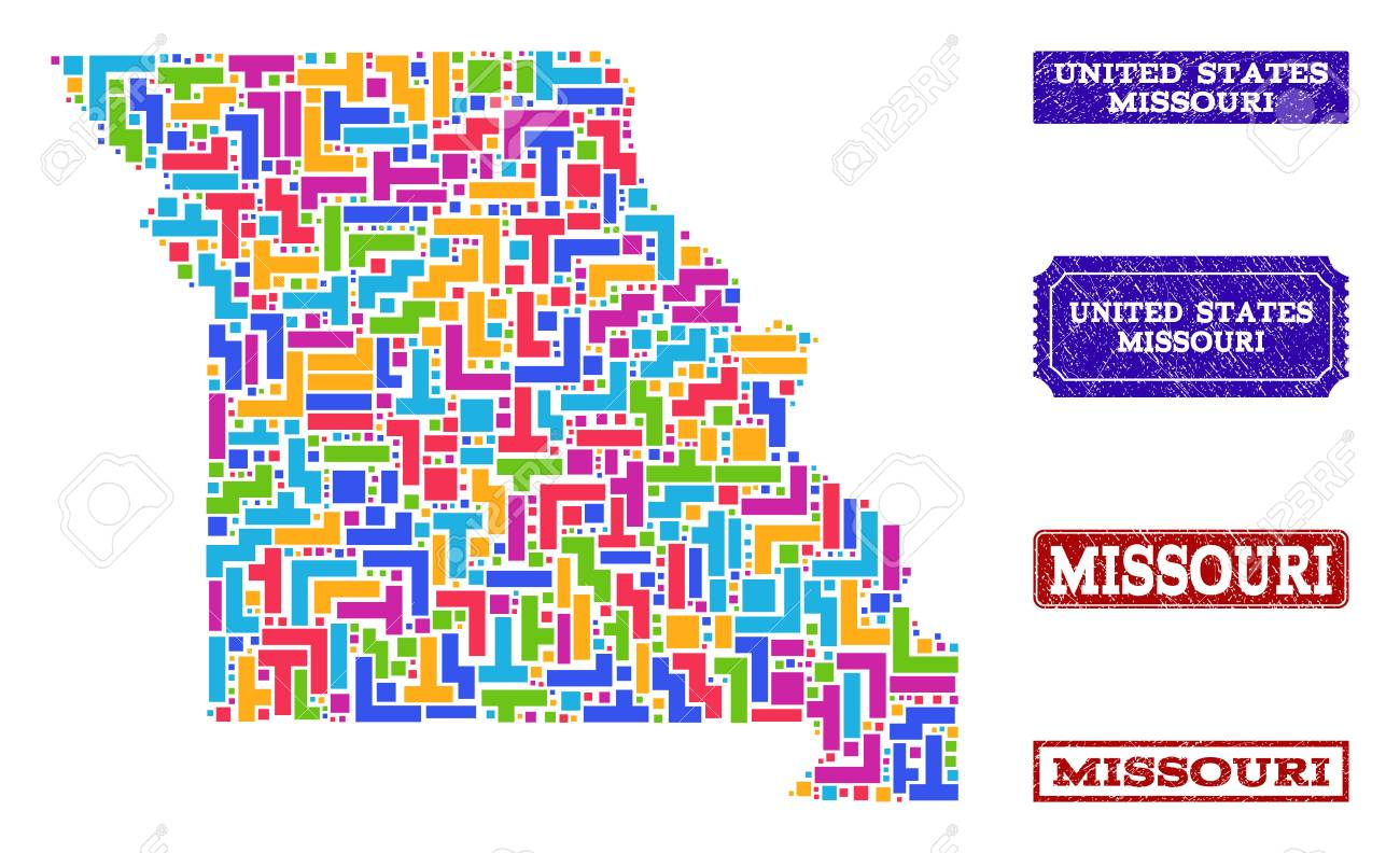 Mosaic tetris style map of Missouri State and scratched rectangle..