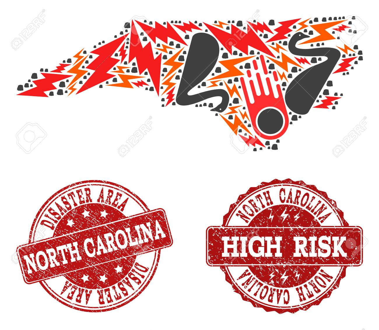 Disaster Combination Of Mosaic Map Of North Carolina State And ...