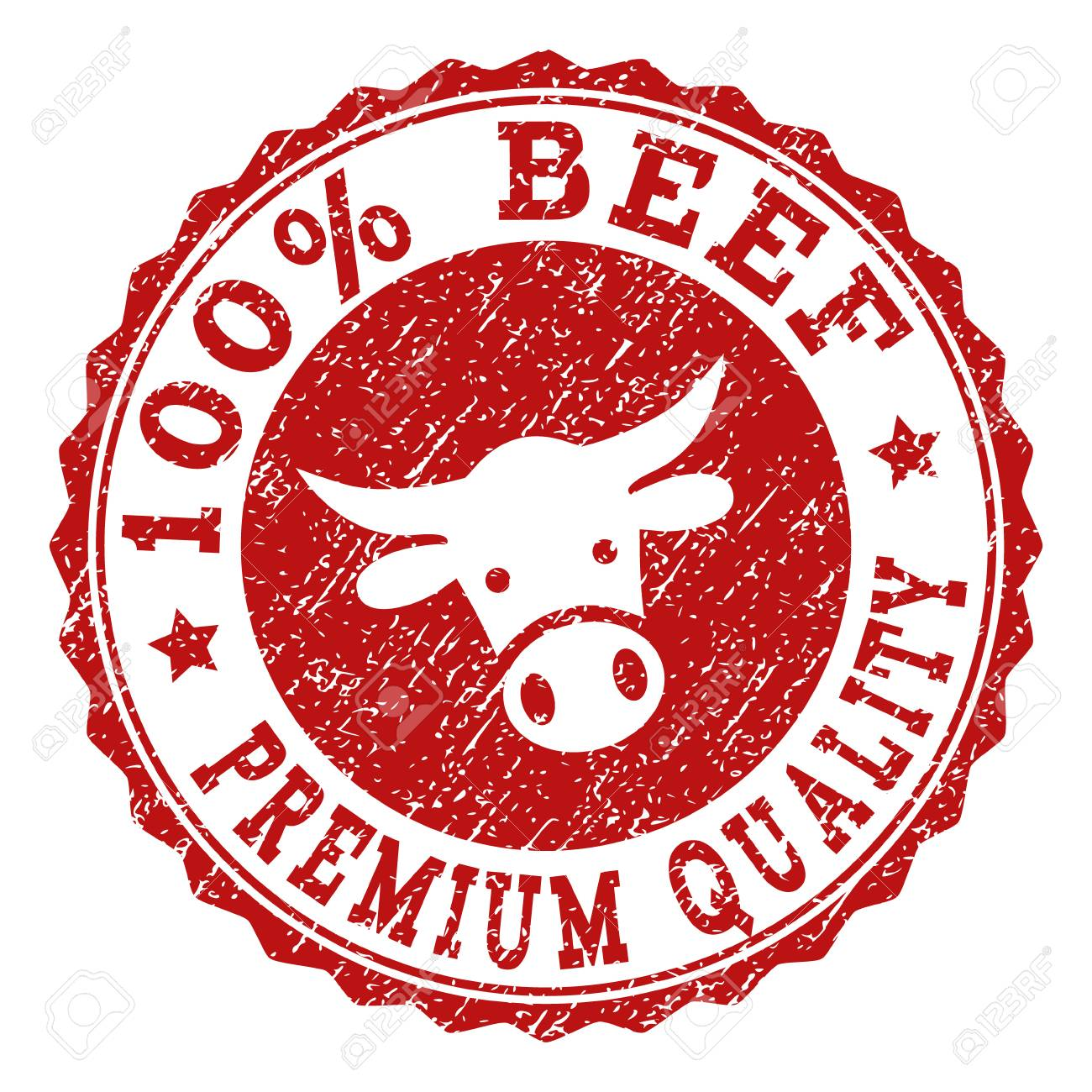 100% Beef Premium Quality stamp seal with grunged texture. Designed with bull head symbol. Red vector rubber stamp with 100% BEEF PREMIUM QUALITY text and rosette round shape. - 111161105