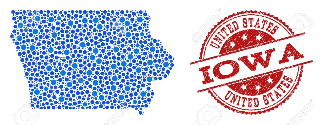 Compositions Of Blue Map Of Iowa State And Red Grunge Stamp Seal ...