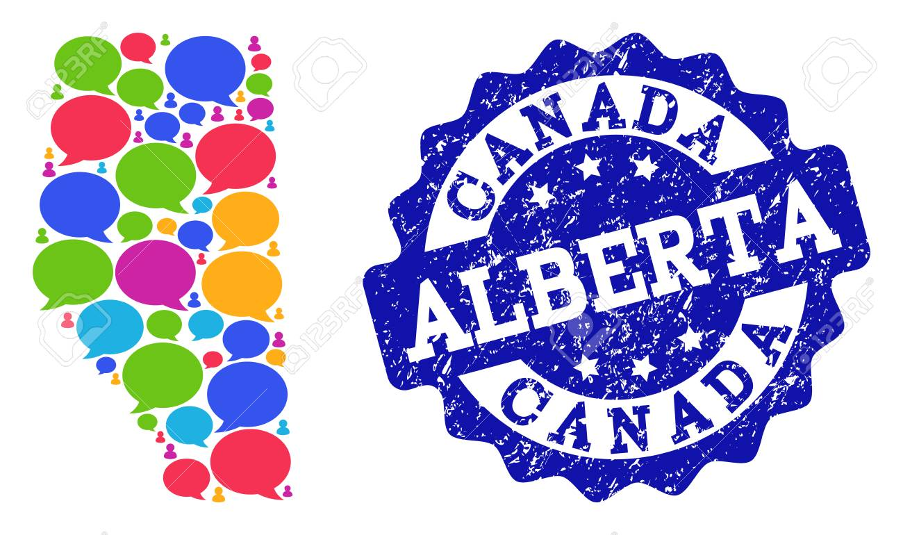 Social network map of Alberta Province and blue grunge stamp