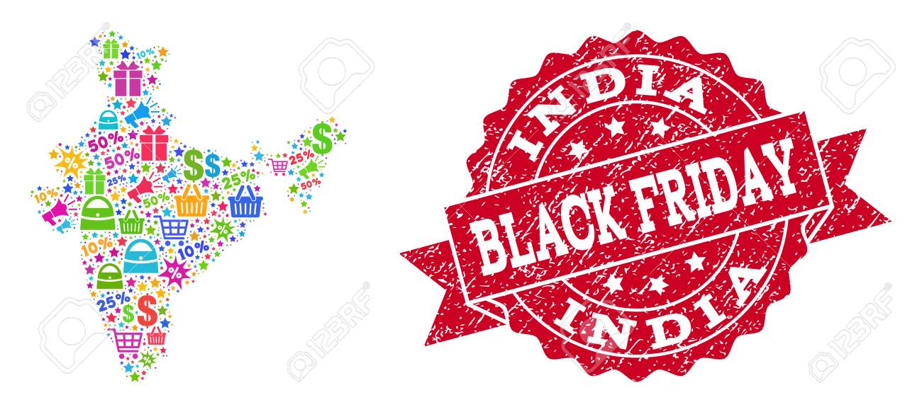 Black Friday Composition Of Mosaic Map Of India And Rubber Stamp Royalty Free Cliparts Vectors And Stock Illustration Image 127552945