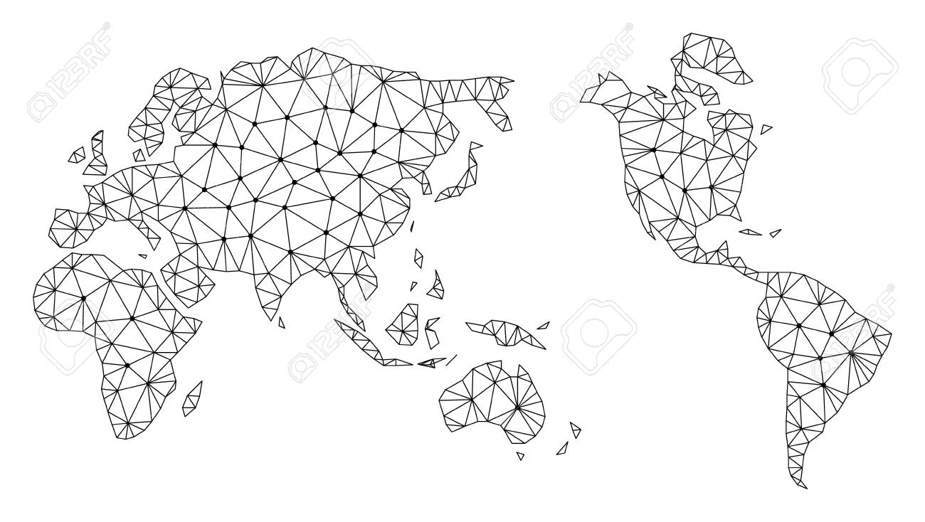 Polygonal Mesh Map Of Earth In Black Color. Abstract Mesh Lines