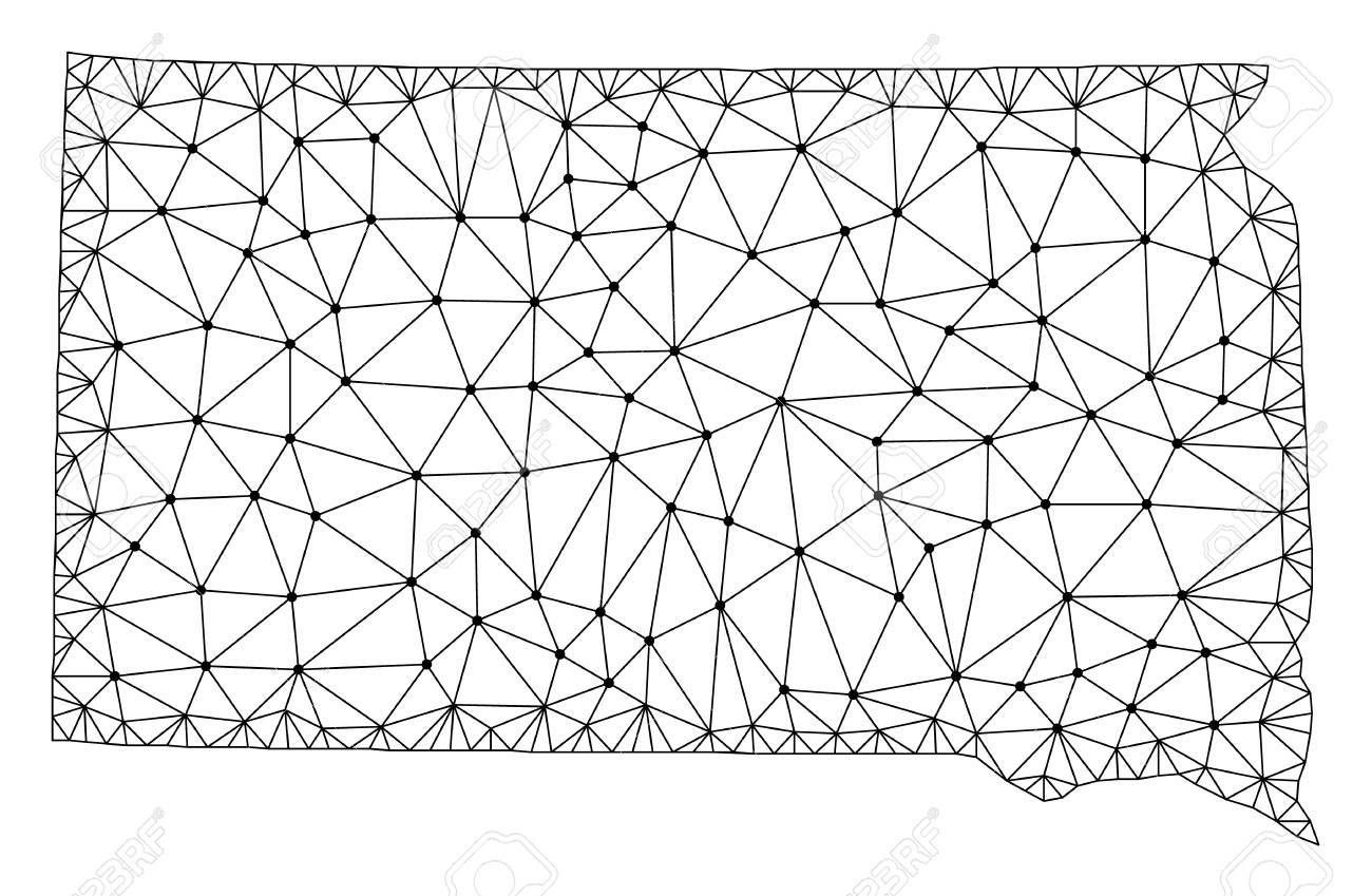 Polygonal Mesh Map Of South Dakota State In Black Color Abstract