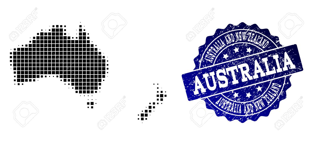 Geographic Combination Of Dot Map Of Australia And New Zealand ...