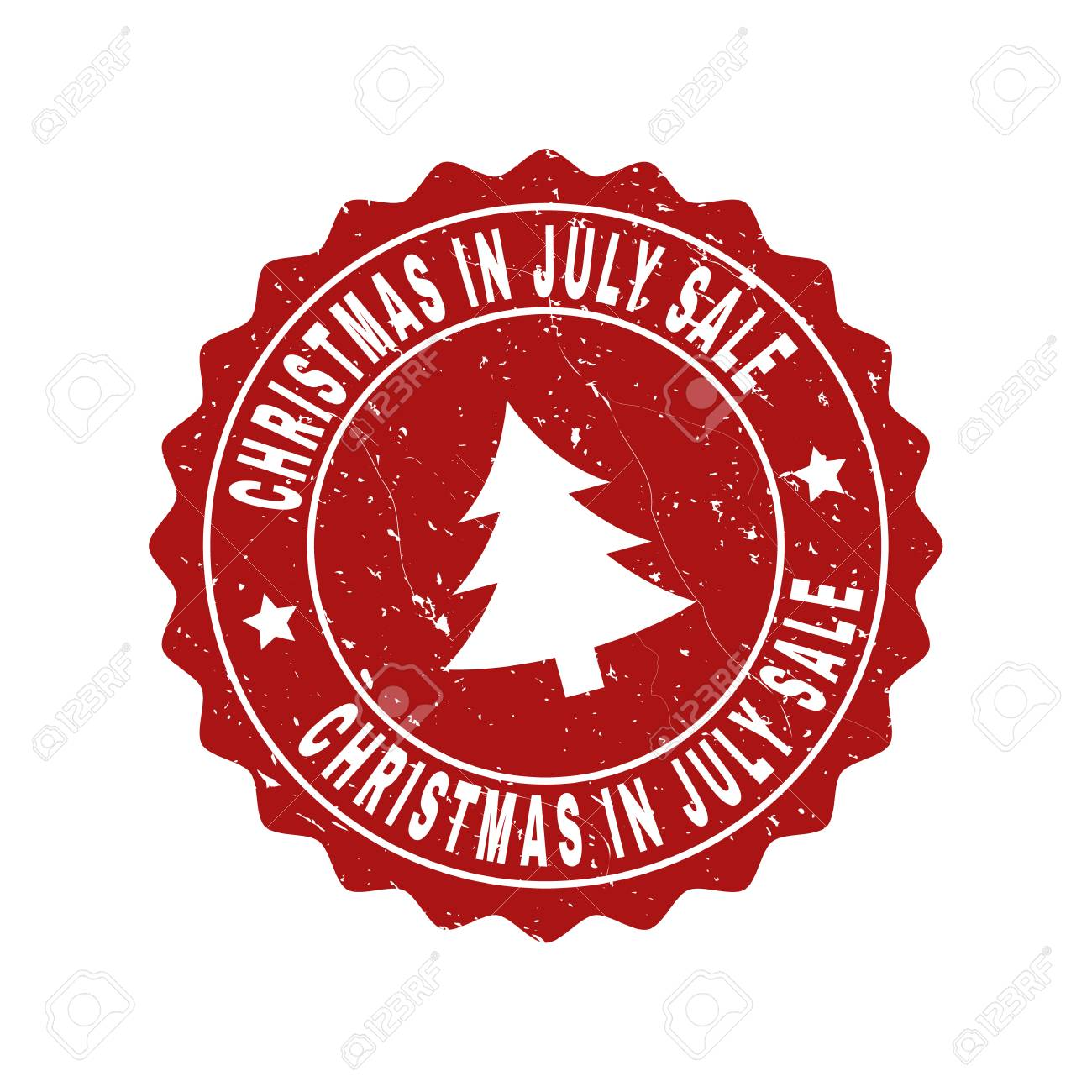 Christmas In July Sale Images.Grunge Round Christmas In July Sale Stamp Seal With Fir Tree