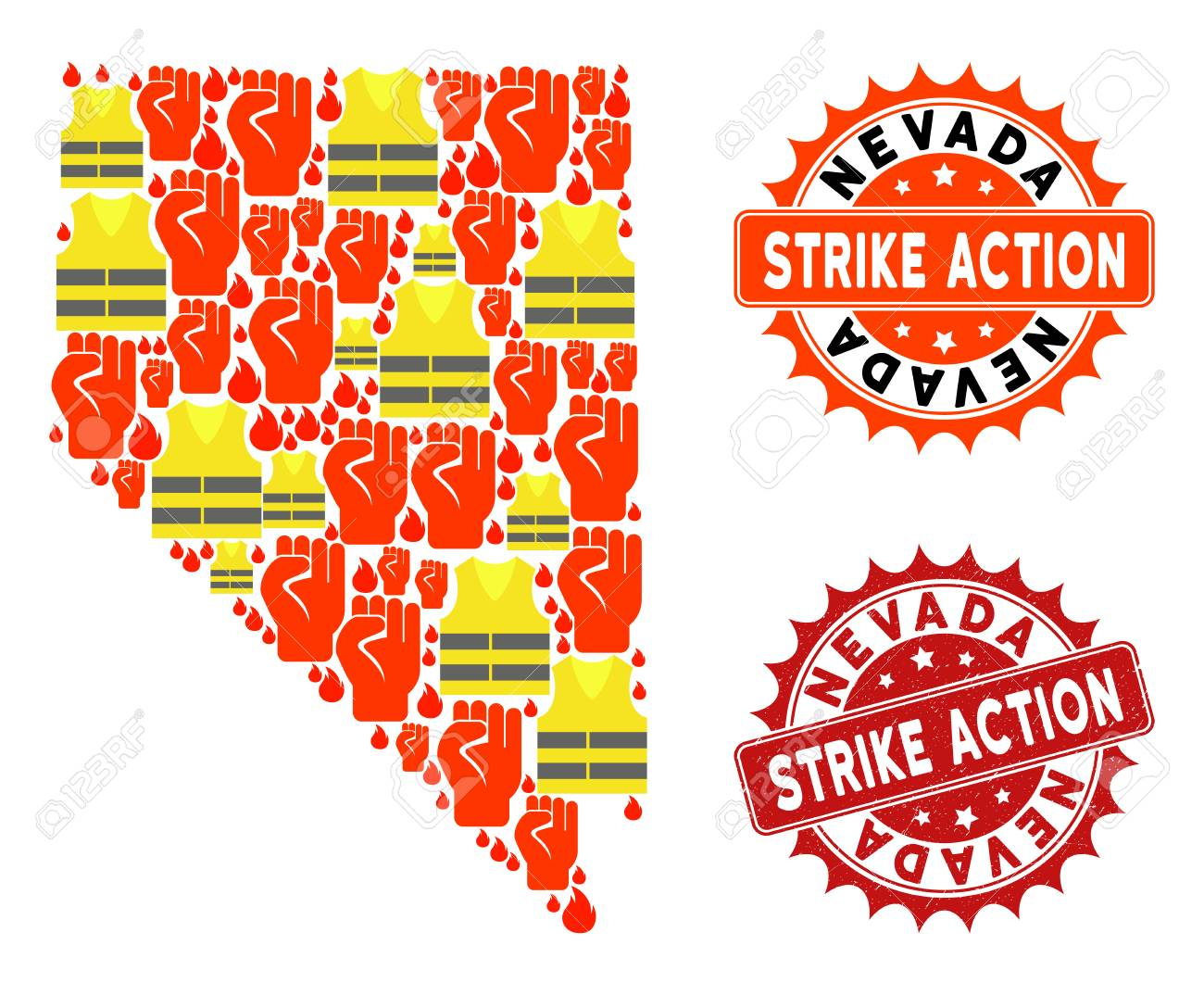 Strike action composition of revolting map of Nevada State, grunge..