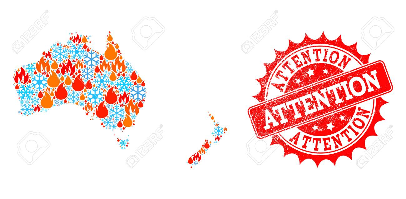 Composition of snowflake and fire map of Australia and New Zealand..