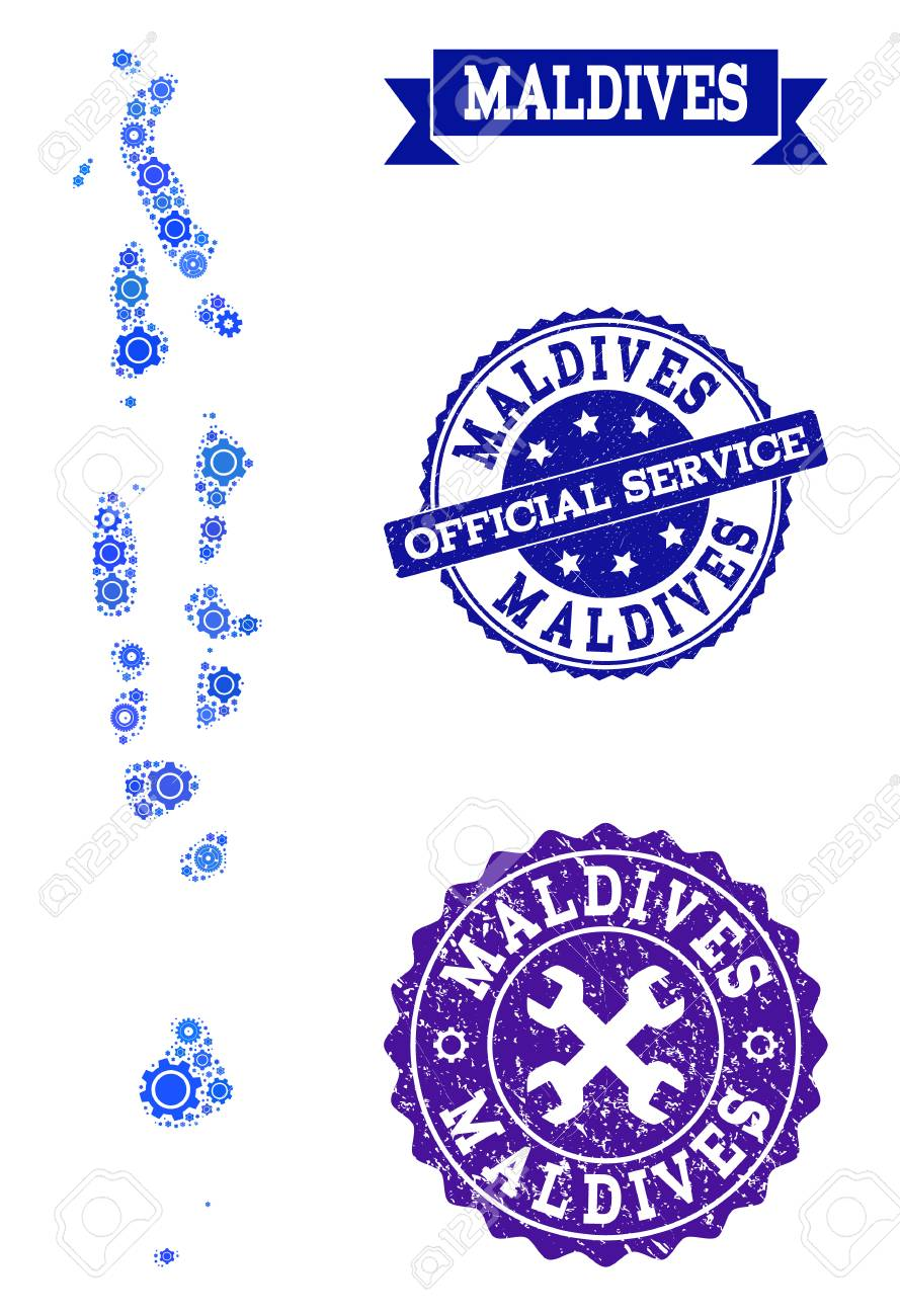 Map Of Maldives Created With Blue Wheel Symbols, And Isolated Rubber ...