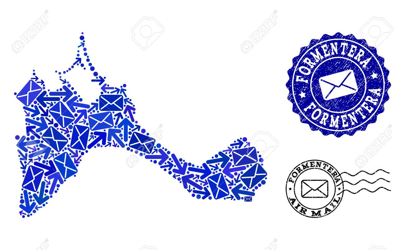 Post collage of blue mosaic map of Formentera Island and rubber