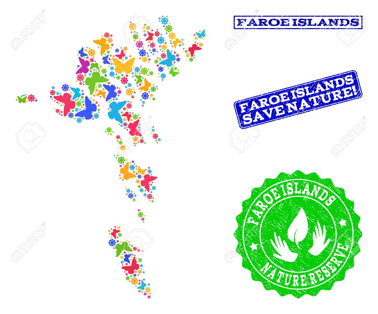 Eco friendly collage of bright mosaic map of Faroe Islands and..