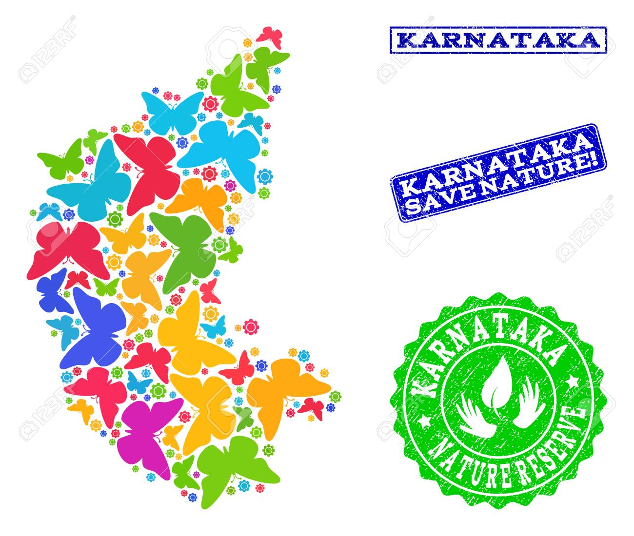 Ecological combination of bright mosaic map of Karnataka State.. on map of delhi, map of rajasthan, map of haryana, map of bangalore, map of kashmir, map of mysore, map of yunnan province, map of hubei province, map of gujarat, map of andhra pradesh, map of orissa, map of nunatsiavut, map of mumbai, map of uttar pradesh, map of maharashtra, map of arunachal pradesh, map of india, map of west bengal, map of kerala, map of madhya pradesh,
