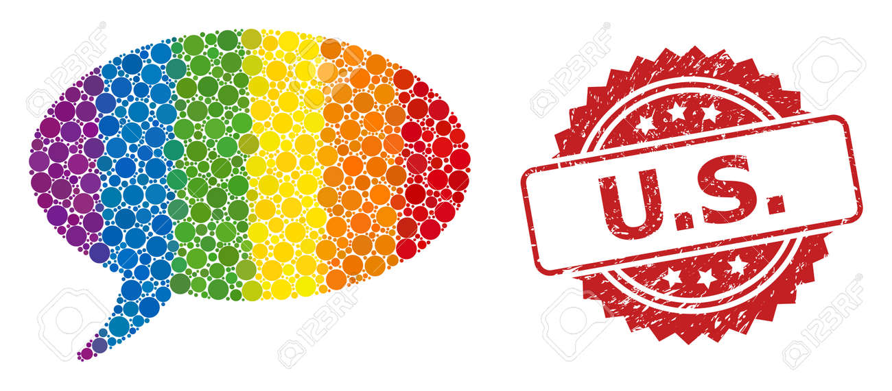 Message cloud mosaic icon of circle elements in variable sizes and LGBT colored shades, and U.S. textured rosette stamp seal. A dotted LGBT-colored Message cloud for lesbians, gays, transgenders, - 155223361