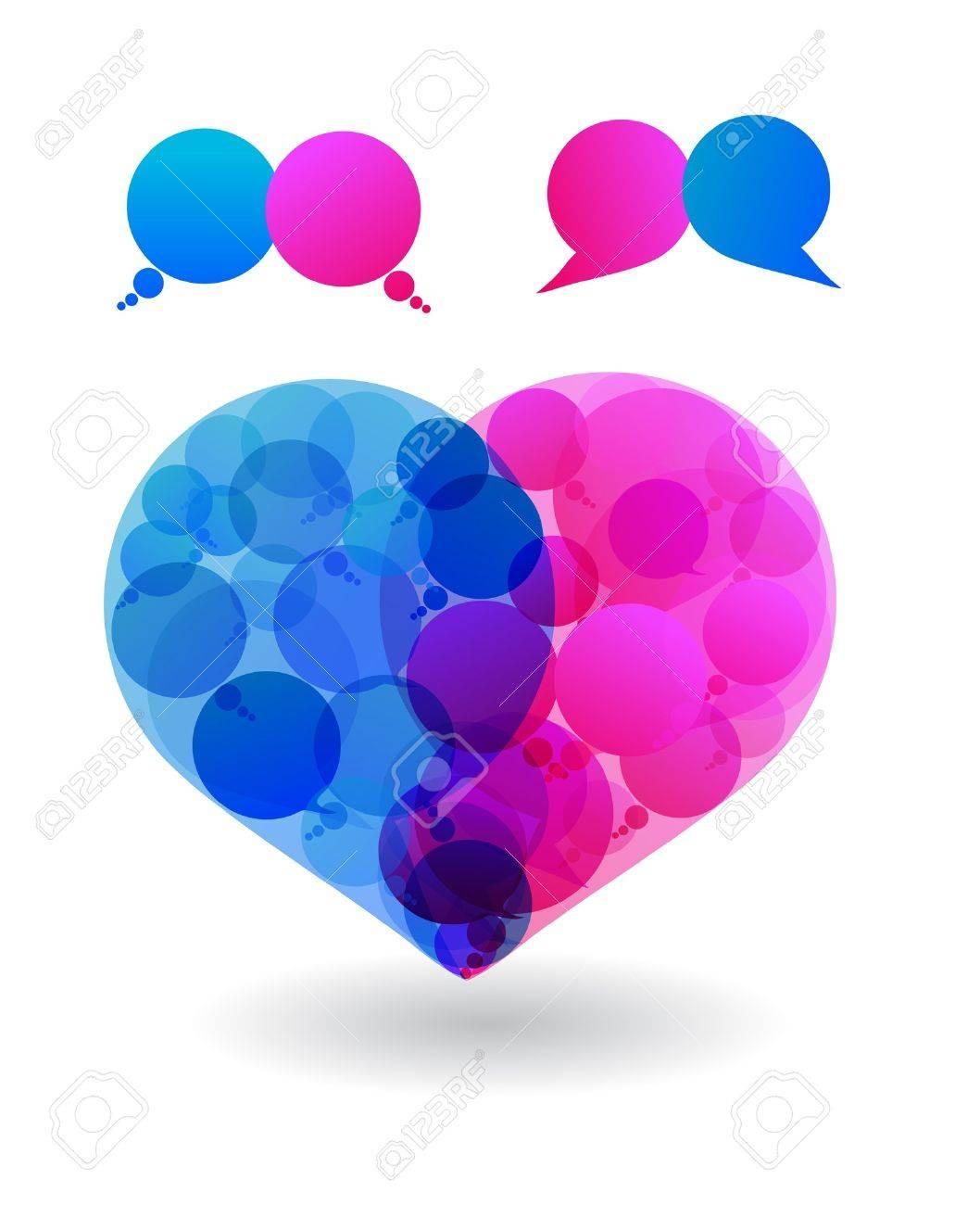 Talk In Colors Speech Bubbles Social Media Love Heart Social ...