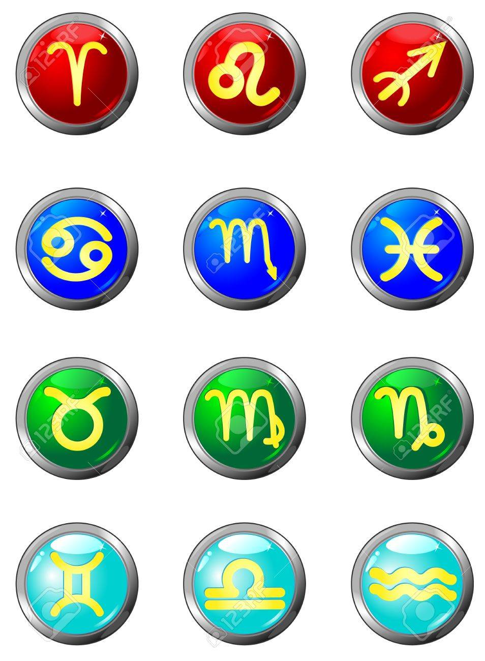 Zodiac  Three Dimensional circle button sign  It also shows the element associated with each sign  Fire signs  red , Earth signs  green , Air  sky-blue , Water signs  dark blue Stock Vector - 13352853