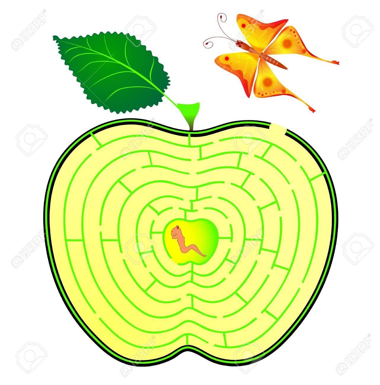 Apple maze. caterpillar and butterfly. concept Stock Vector - 13406100