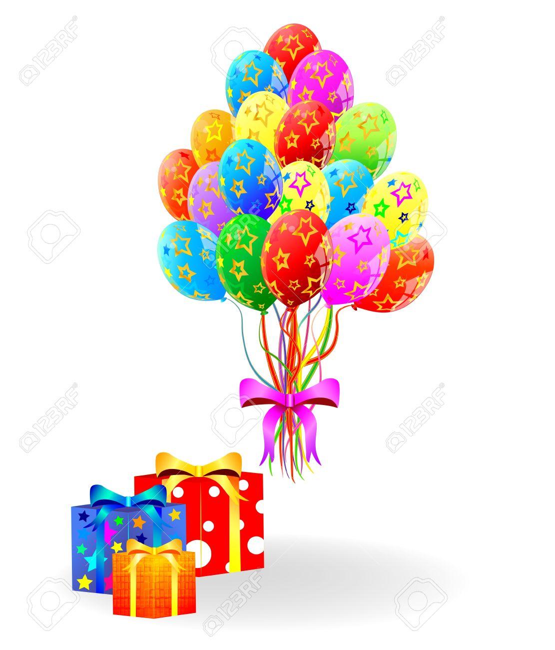 Herzlichen Gluckwunsch Zum Geburtstag Geschenk Box Und Luftballons